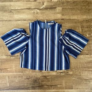 ASOS Striped Blue Cold Shoulder Top 4